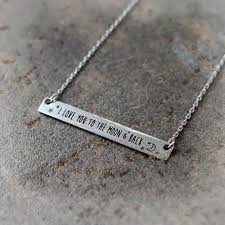 Hand Stamped Necklace I Love You To The Moon And Back