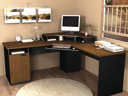 Light Wood Desk Corner Black Wooden Desk With Smaller Light Brown Wooden Shelf On
