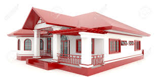 3d red vintage house exterior design in isolated background stock