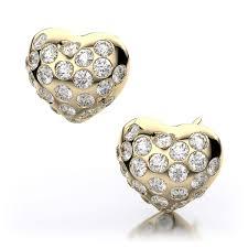 heart shaped diamond earrings 92ctw diamond heart shape burnished earrings in 14k yellow gold i1 i