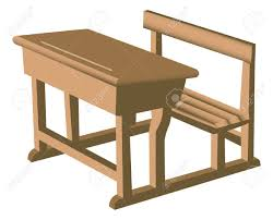 illustration of a brown like wooden desk with attached