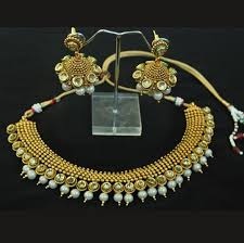 gold pearl necklace set images Gold plated kundan pearl necklace set with beautiful jhumkaas jpg