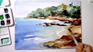 speed painting sea shore in watercolor youtube
