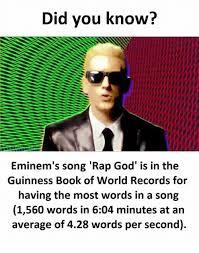 Eminem Rap God Meme - did you know eminem s song rap god is in the eminem s song rap