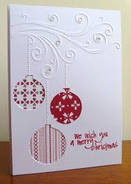Homemade Christmas Card Ideas by Embossing Folder Swirl Design With Hanging Baubles Die Cut Or