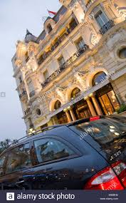 mercedes in front of the hotel de paris luxury hotel monte carlo
