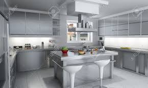 white kitchen with island 3d rendering of a modern industrial kitchen with island stock