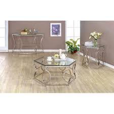 Pc Coffee Table Furniture Of America Marilyn 3 Pc Geometric Chrome Frame Coffee