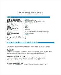 Fresher Teacher Resume Sample Primary Teacher Resume Sample Teacher Resume Template