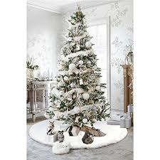 aerwo faux fur tree skirt 48 inches snowy white tree