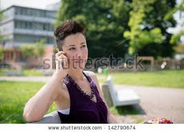 hipster hair for women beautiful hipster short hair woman park stock photo 142790674