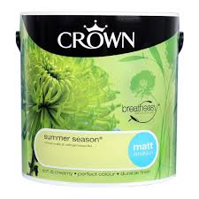 crown breatheasy emulsion paint matt summer season 2 5l