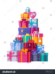 mountain colorful gift boxes on white stock vector 485923552
