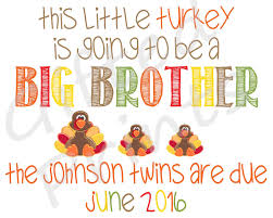 thanksgiving themed twin pregnancy announcement thanksgiving themed