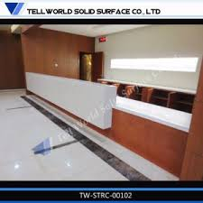 L Shaped Salon Reception Desk China Modern Design Artificial Stone White L Shape Salon Reception
