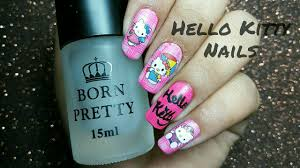 easiest way to get your nails done hello kitty nail art youtube