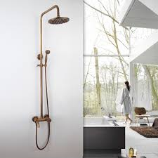 Exposed Outdoor Shower Fixtures - antique copper modern thermostatic mixer shower valve exposed