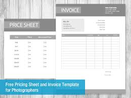 free pricing sheet and invoice template for photographers