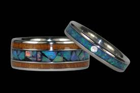 Opal Wedding Ring Sets by Opal And Koa Titanium Wedding Rings Titanium Wedding Rings