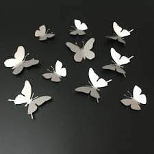 10Pcs lot Silver 3D Butterfly Wall Decor Art Mirror Wall Sticker