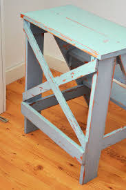 Free Wooden Step Stool Plans by Ana White Vintage X Back Step Stool End Table Diy Projects