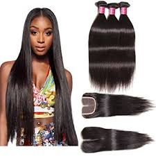 black hair weave part in the middle amazon com ali julia hair brazilian virgin straight hair 3