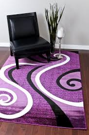 Purple And Black Area Rugs 0327 Purple Black White 5 2x7 2 Area Rug Abstract