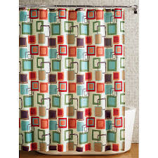 Polyester Shower Curtains Hometrends Squares Fabric Printed Shower Curtain Multicolored
