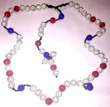white rosary white blue shamballa rosary mystic rosary