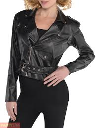 womens ladies 1950s cropped leather jacket 50s grease sandy fancy