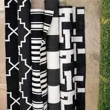 Fade Resistant Outdoor Rugs Patio Stripe Indoor Outdoor Rug Black Williams Sonoma