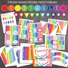 welcome home baby shower editable rainbow party decorations printable rainbow party