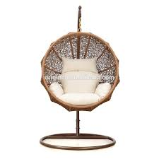 Outdoor Wicker Egg Chair Coconut Shaped Outdoor Patio Hanging Basket Summer Rattan Swing