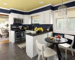 nice looking small kitchen breakfast nook design with yellow