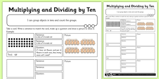 multiplying and dividing by 10 activity sheet multiply