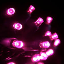 50 pink 5mm led green wire