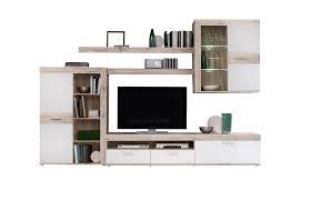 Wohnzimmerschrank Ohne Tv Newface Zumba Wohnwand Inklusive Led Beleuchtung Holz Sandeiche