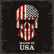 American Flag In Text Made In Usa Skull T Shirt Finelineflag