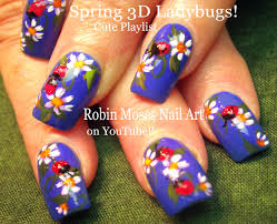 ladybug nails 3d nail design using gel spring nail art youtube