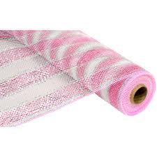 white deco mesh 21 poly deco mesh pink white stripe re1044n3 craftoutlet