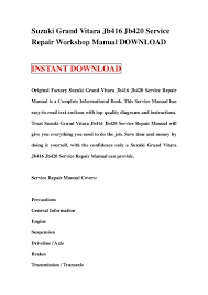 suzuki grand vitara jb416 jb420 service repair workshop manual downlo u2026