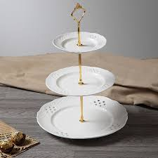wedding serving dishes engrave ceramic white 3 tiers dishes cake stand wedding serving