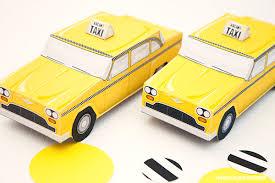 piggy bank party favors taxi cab favor box diy printable pdf piggy bank