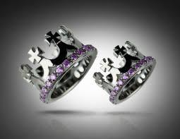 crown wedding rings crown black purple wedding bands