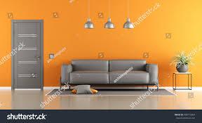 gray orange living room modern sofa stock illustration 508713304