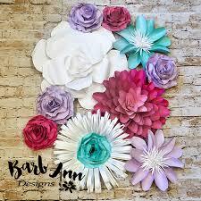paper flower lavender pink teal white paper flower set barb designs