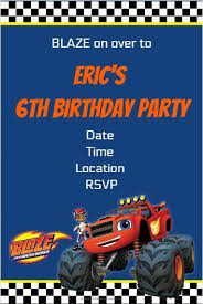 blaze and the monster machines party invitation personalized party