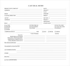 deal memo template template design