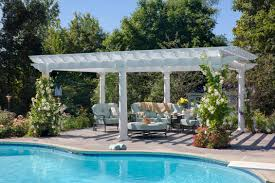 White Vinyl Pergola by Wood Pergolas Photo Gallery At American Landscape Structures