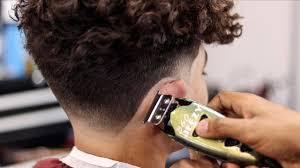 taper fade curly hair mens long curly hair taper fade haircut tutorial youtube